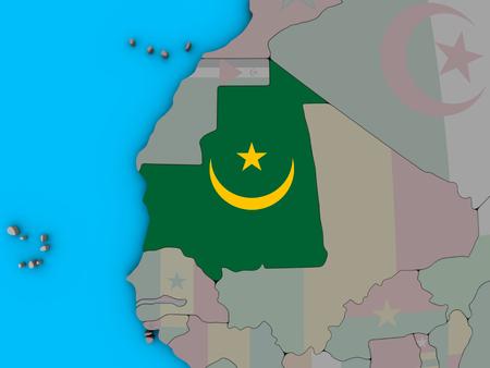 Mauritania with embedded national flag on blue political 3D globe. 3D illustration.