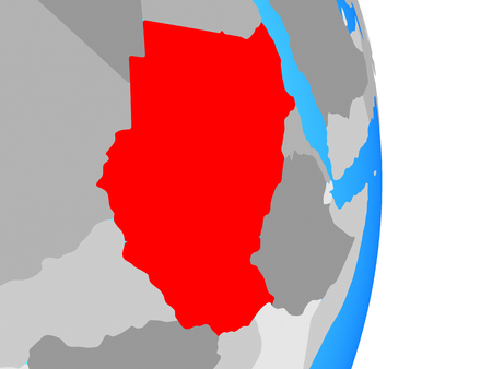 Sudan on simple political globe. 3D illustration.