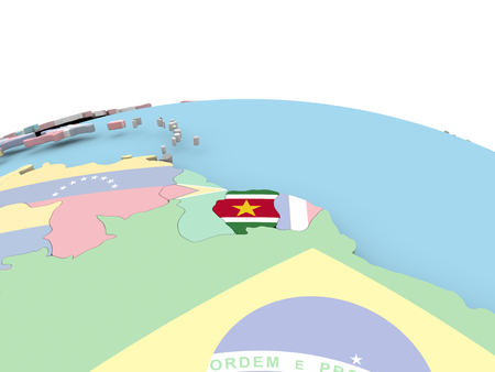 Suriname on political globe with embedded flags. 3D illustration.