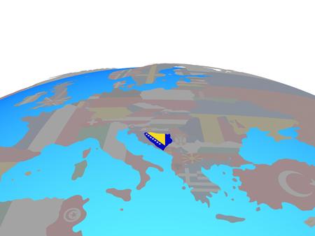 Bosnia and Herzegovina with national flag on political globe. 3D illustration. Stock Photo