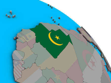 Mauritania with embedded national flag on simple blue political 3D globe. 3D illustration.