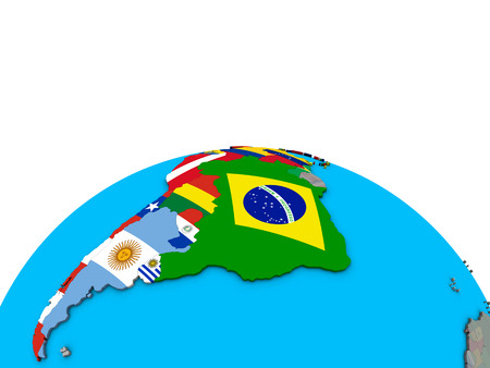 Latin America with embedded national flags on political 3D globe. 3D illustration.