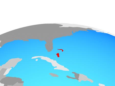 Bahamas on political globe. 3D illustration.