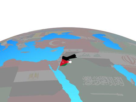 Jordan with national flag on political globe. 3D illustration.