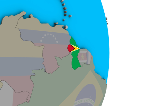 Guyana with embedded national flag on simple political 3D globe. 3D illustration. Stock Photo