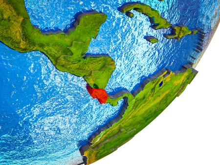 Costa Rica on 3D model of Earth with water and divided countries. 3D illustration.