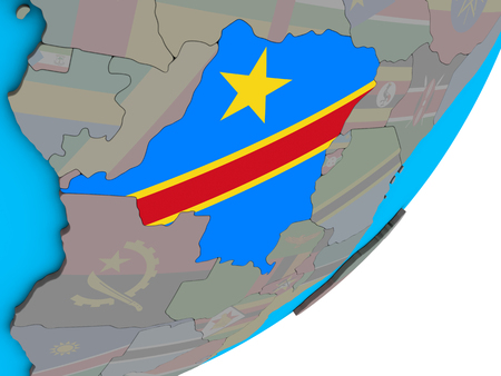 Dem Rep of Congo with national flag on blue political 3D globe. 3D illustration.