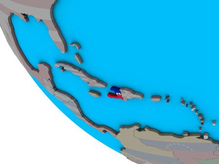 Haiti with embedded national flag on simple 3D globe. 3D illustration.