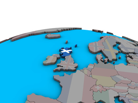 Scotland with embedded national flag on political 3D globe. 3D illustration. Stock Photo