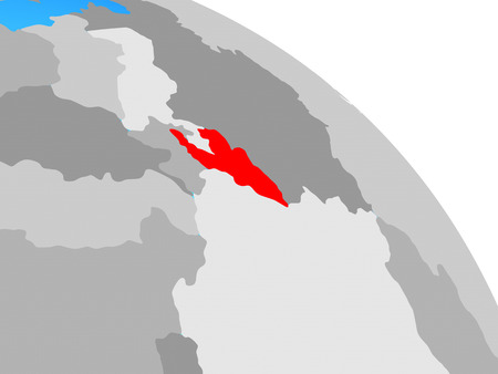 Kyrgyzstan on simple blue political globe. 3D illustration. Stock Photo