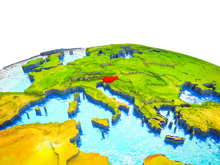 Slovenia on 3D Earth with visible countries and blue oceans with waves. 3D illustration. Stock Photo