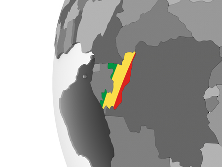 Congo on gray political globe with embedded flag. 3D illustration. Standard-Bild - 110620961