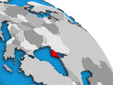 Crimea on simple blue political 3D globe. 3D illustration.