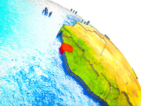 Sierra Leone Highlighted on 3D Earth model with water and visible country borders. 3D illustration.