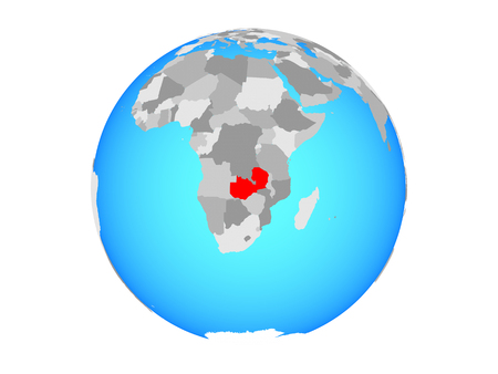 Zambia on blue political globe. 3D illustration isolated on white background.