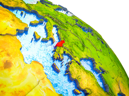 Albania Highlighted on 3D Earth model with water and visible country borders. 3D illustration. Stock Photo