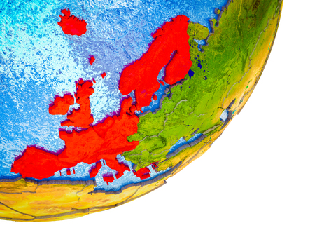 Western Europe on 3D model of Earth with water and divided countries. 3D illustration.