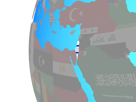 Israel with embedded national flag on blue political globe. 3D illustration.