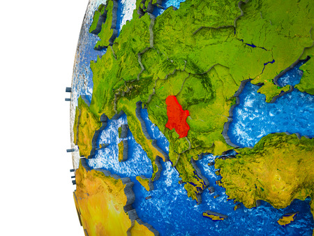 Serbia highlighted on 3D Earth with visible countries and watery oceans. 3D illustration.