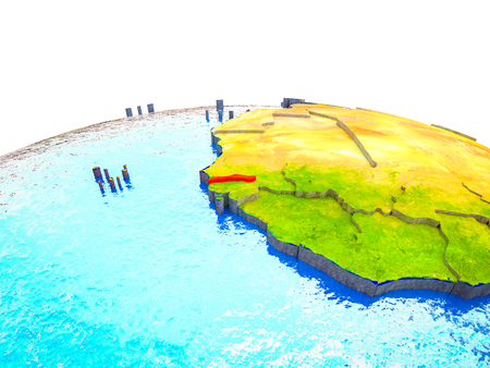 Gambia on 3D Earth with visible countries and blue oceans with waves. 3D illustration.