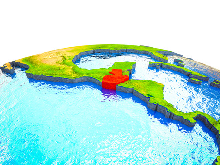 Guatemala on 3D Earth with visible countries and blue oceans with waves. 3D illustration.