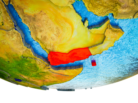 Yemen on 3D Earth with divided countries and watery oceans. 3D illustration.