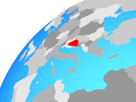 Bosnia and Herzegovina on globe. 3D illustration. Stock Photo