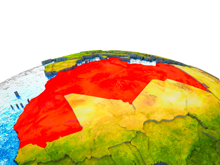 Maghreb region on 3D Earth with visible countries and blue oceans with waves. 3D illustration. Stock Photo