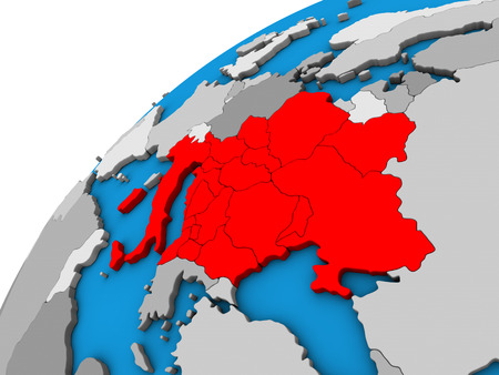 CEI countries on 3D globe. 3D illustration.