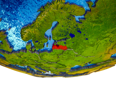 Latvia on 3D Earth with divided countries and watery oceans. 3D illustration. 스톡 콘텐츠