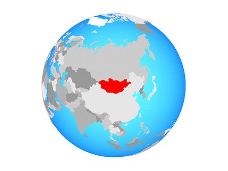 Mongolia on blue political globe. 3D illustration isolated on white background. Stock Photo