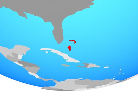 Bahamas on simple political globe. 3D illustration.