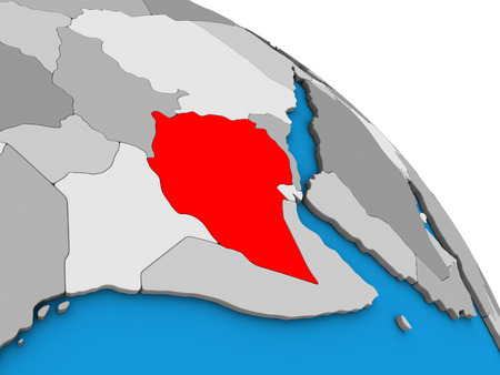 Ethiopia on simple blue political 3D globe. 3D illustration.