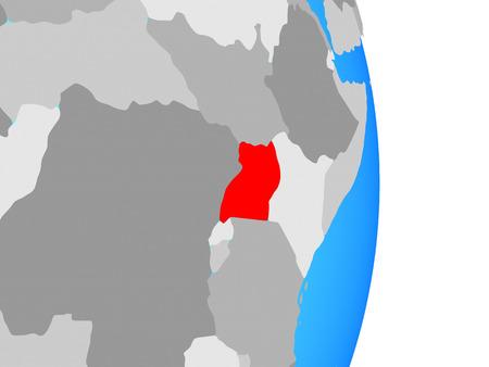 Uganda on simple political globe. 3D illustration.