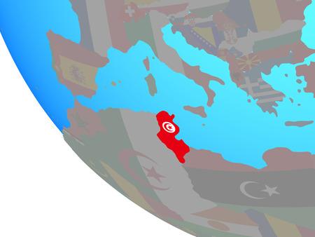 Tunisia with national flag on simple globe. 3D illustration.