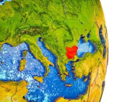 Bulgaria on 3D model of Earth with divided countries and blue oceans. 3D illustration. Stock Photo