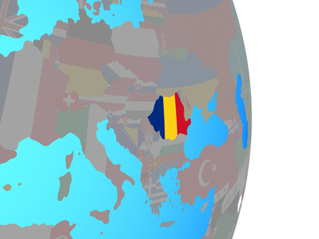 Romania with national flag on simple political globe. 3D illustration. Stock Photo