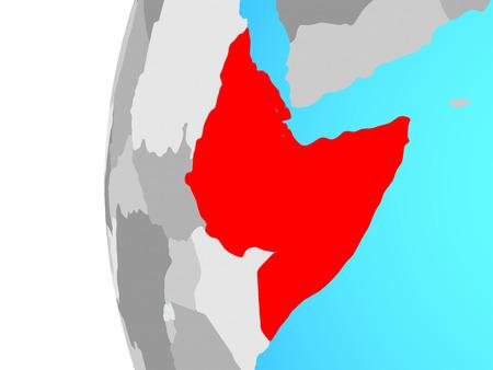 Horn of Africa on blue political globe. 3D illustration. Banque d'images - 110552242