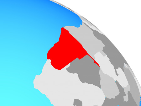 Namibia on simple blue political globe. 3D illustration.