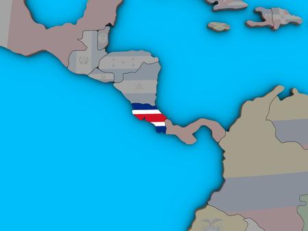 Costa Rica with embedded national flag on blue political 3D globe. 3D illustration. 版權商用圖片