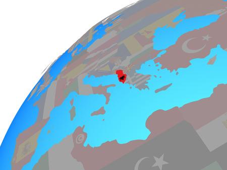 Albania with embedded national flag on globe. 3D illustration. Stock Photo
