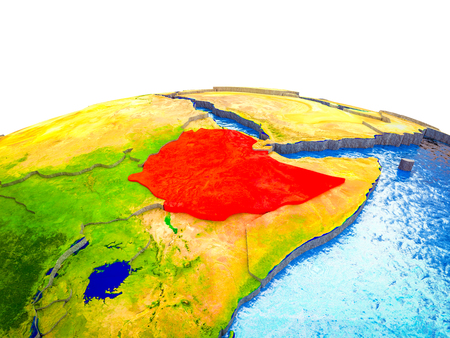 Ethiopia on 3D Earth with visible countries and blue oceans with waves. 3D illustration.
