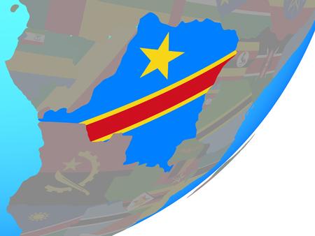 Dem Rep of Congo with embedded national flag on blue political globe. 3D illustration. Banco de Imagens
