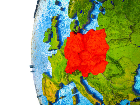 Central Europe highlighted on 3D Earth with visible countries and watery oceans. 3D illustration. 스톡 콘텐츠