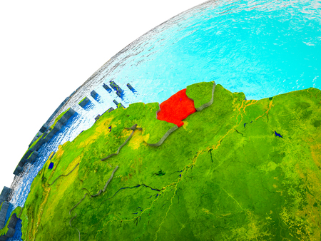 Suriname on 3D Earth model with visible country borders. 3D illustration.