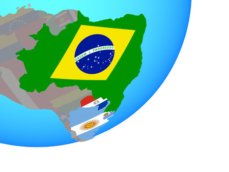 Mercosur memebers with embedded national flags on blue political globe. 3D illustration.
