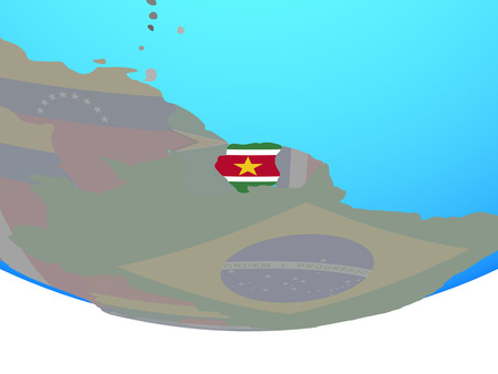 Suriname with national flag on simple political globe. 3D illustration.