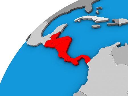 Central America on 3D globe. 3D illustration.