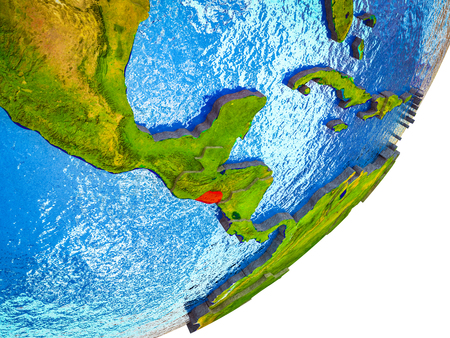 El Salvador on 3D model of Earth with water and divided countries. 3D illustration. Banco de Imagens