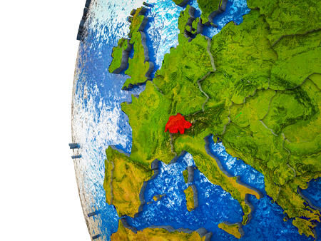 Switzerland highlighted on 3D Earth with visible countries and watery oceans. 3D illustration.